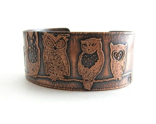 Copper Etched Owl Cuff Handmade Copper Metal Jewelry Owl Bracelet  ***MADE TO…