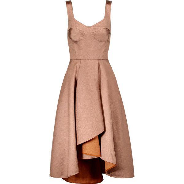 Jason Wu Asymmetric pleated satin midi dress ($830) ❤ liked on Polyvore featuring dresses, neutral, mid calf dresses, fitted midi dress, beige midi dress, fitted dresses and loose dresses