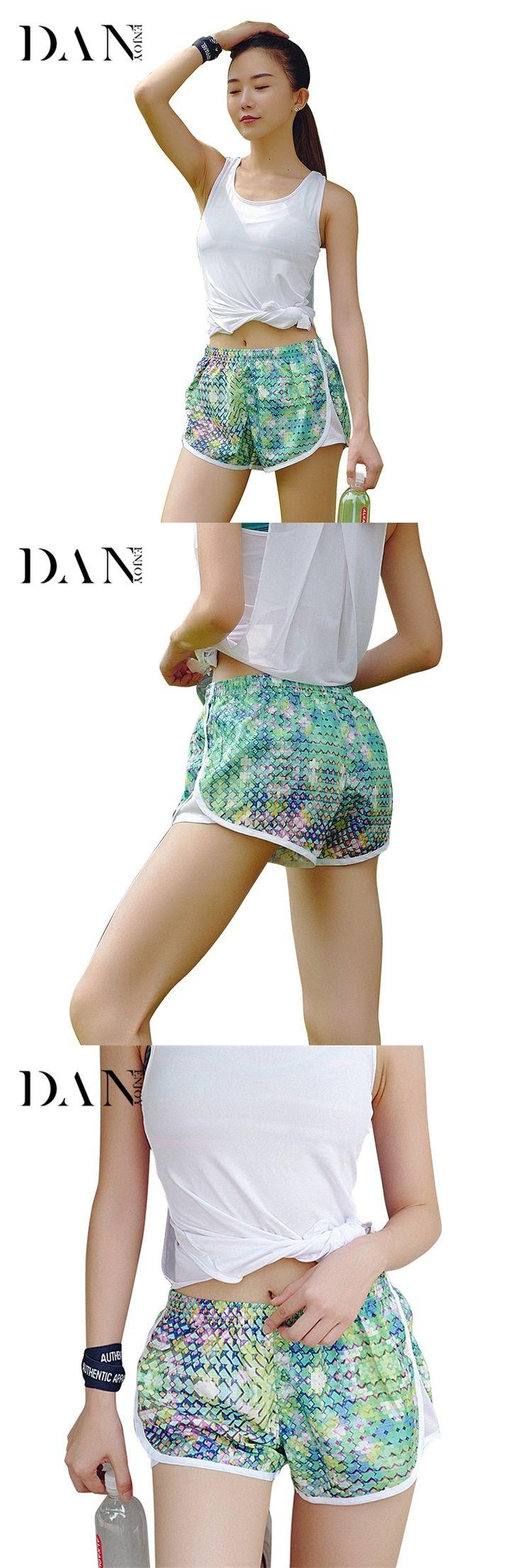 DANENJOY Sports Shorts Mesh Cover Geometric Mesh Splicing Fitness Breathable Running Women Yoga Jogging Fake Two Piece Short