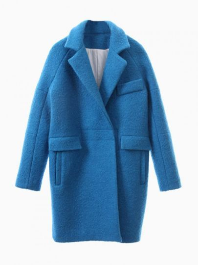 Blue Long Sleeve Lapel Ovoid Coat