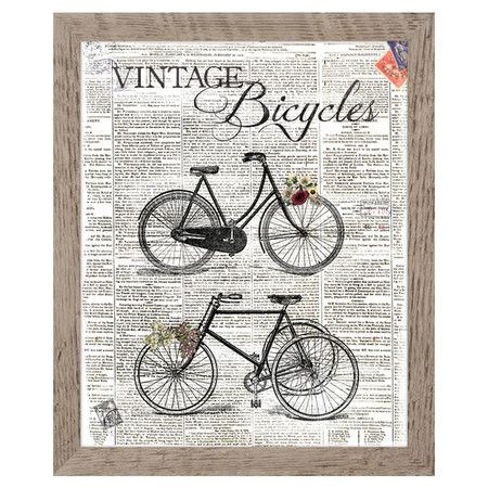 bicycles framed wall decor at joss and main new home. Black Bedroom Furniture Sets. Home Design Ideas