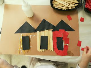 3 Little Pigs- spaghetti noodles, popscicle sticks, red construction paper. black triangles and rectangles for the roof and door. Work on sequencing and tell the story to someone at home.