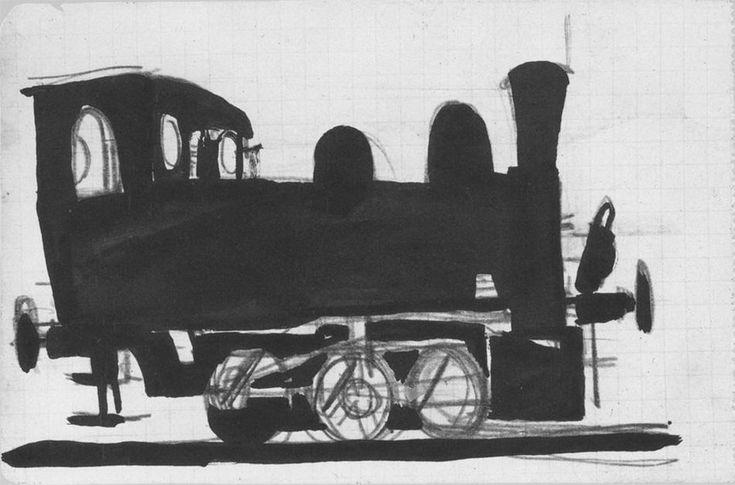 Паровоз. В Донбассе.1924 годБумага, карандашГрафика