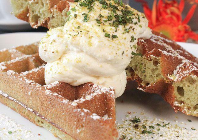 Green tea batter waffles with lemon-ginger whipped cream??? Woohoooo
