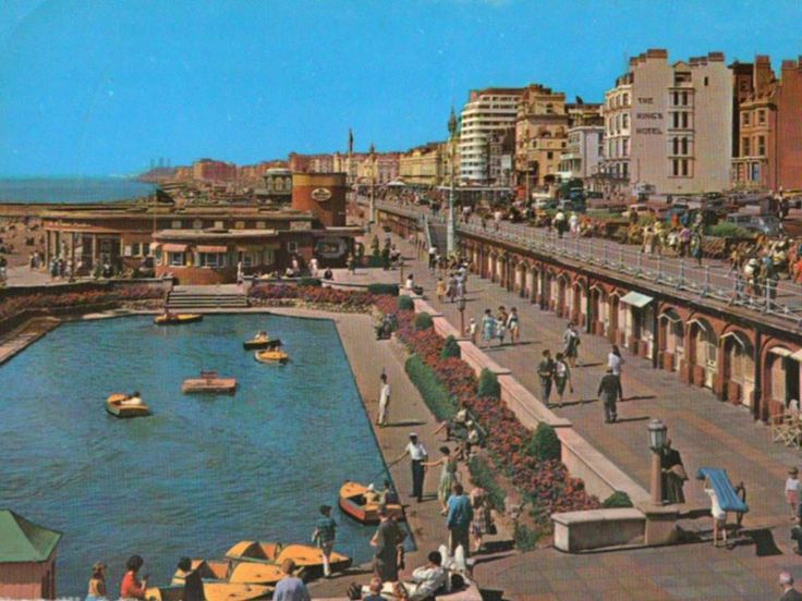 Postcard 1960s. The boating pool, Brighton, East Sussex, UK