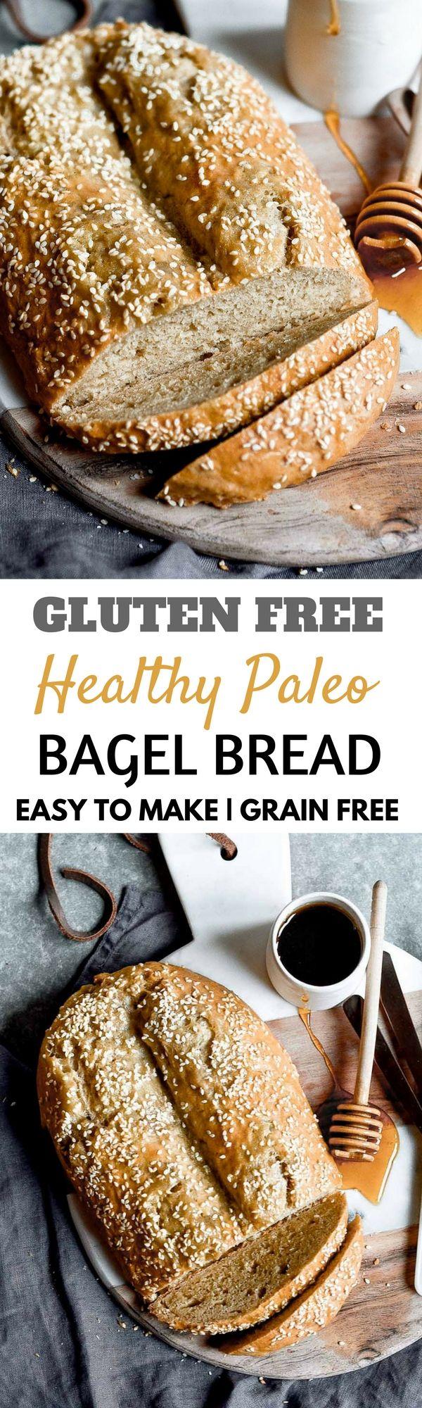 Healthy gluten free paleo bagel bread. An Easy to make grain free bread that tastes like a bagel!