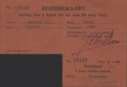 Kledingkaart uitgegeven te Soerabaja van sergeant der mariniers D.J. Scholts, 1947