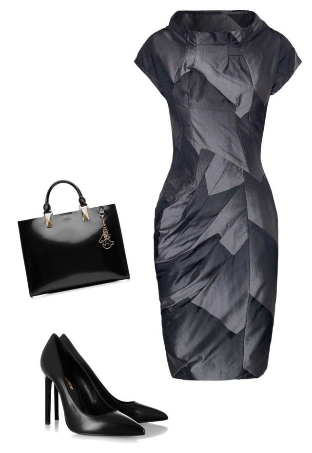 """""""Geometry at work"""" by alisonstylecoaching on Polyvore featuring James Lakeland, Karl Lagerfeld and Yves Saint Laurent"""