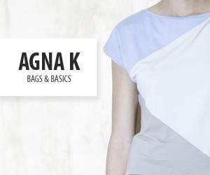 De filosofie van Agna K is is gebaseerd op eenvoud met een scherp oog voor detail, de juiste pasvorm en het gebruik van natuurlijke materialen van hoge kwaliteit. Recht uit het hart met een knipoog naar klassieke vormen. Agna K is voor de zelfbewuste vrouw vanaf 30 jaar, die goed gekleed wil zijn in Dutch Design. Agna K gaat de samenwerking aan met wisselende jonge ontwerpers en bouwt zo aan een collectie blijvende kledingstukken.