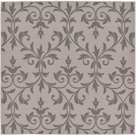 Unique Loom Outdoor Victorian Rug, Gray