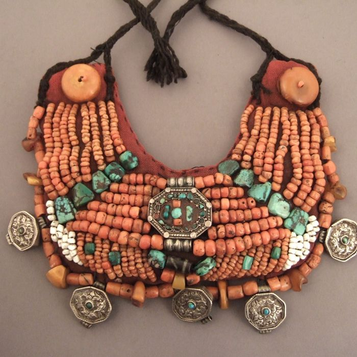 Shapak, Cloth, Coral, Amber, Agata, Turquoise, Silver, Ladakh, India and Tibet.