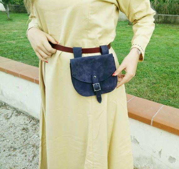 Scarsella médiévale daim sac banane avec boucle par LeatherCraft4U