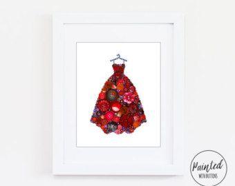 Button Art PRINT Ball Gown Giclee Art Print Fancy Dress