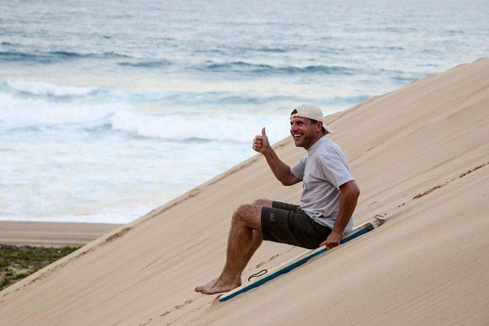 Dune boarding is a huge hit at Rocktail Camp in northern KZN's Maputaland.