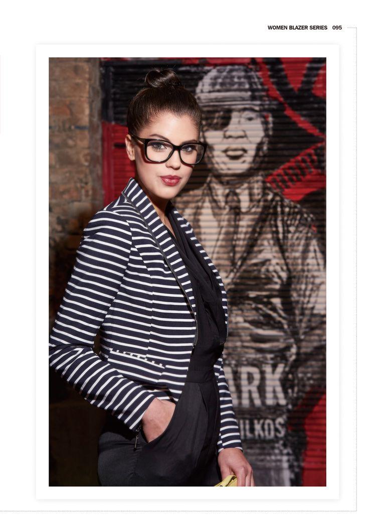 Get smart!  #forwomen #clothing #fashion #glostory #grey #jacket #blazer #kiwi #babyblue #black #white