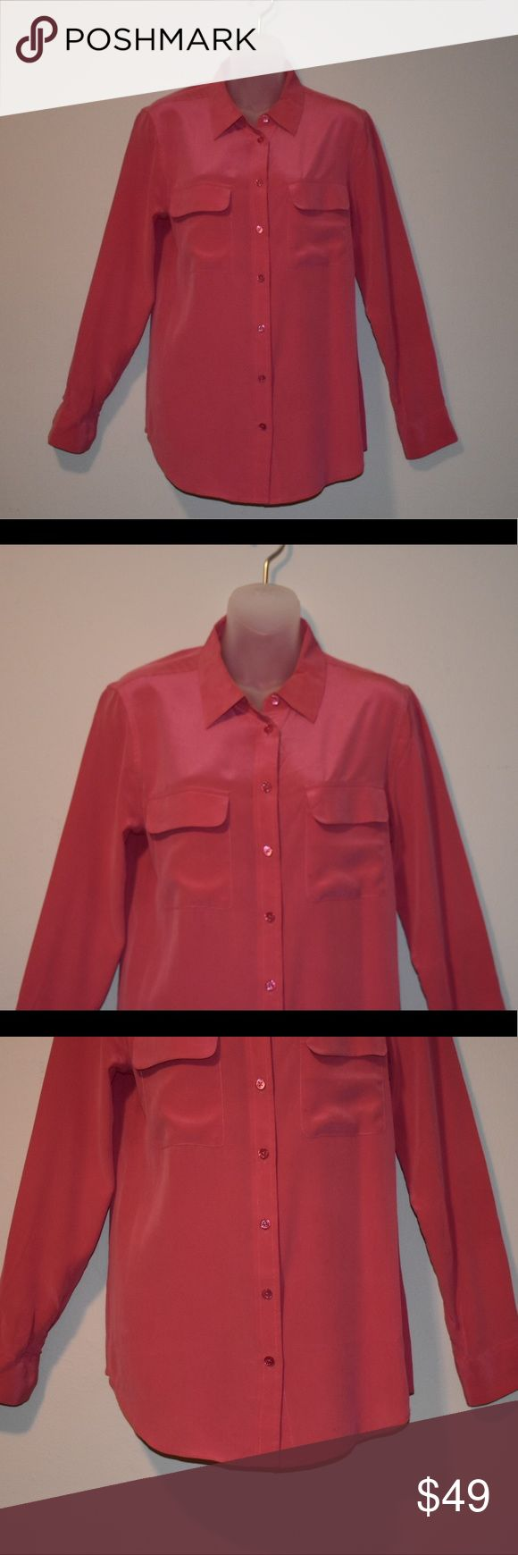 Equipment Slim Signature Silk Blouse 100% Silk. Beautiful color - almost like a dark salmon pink color. Only worn twice and dry cleaned both times. In perfect condition with the exception of a tiny tiny mark on the front pocket. Unnoticeable when worn. Equipment Tops Blouses