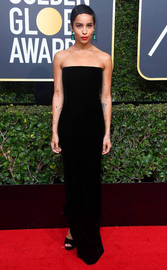 Zoë Kravitz: 2018 Golden Globes Red Carpet Fashion. Super simple dress, simple hair and gorgeous earrings!!