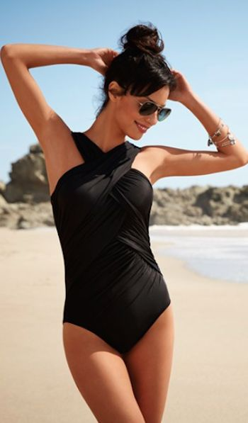 Miraclesuit crisscross black swimsuit makes you look 10 pounds lighter!