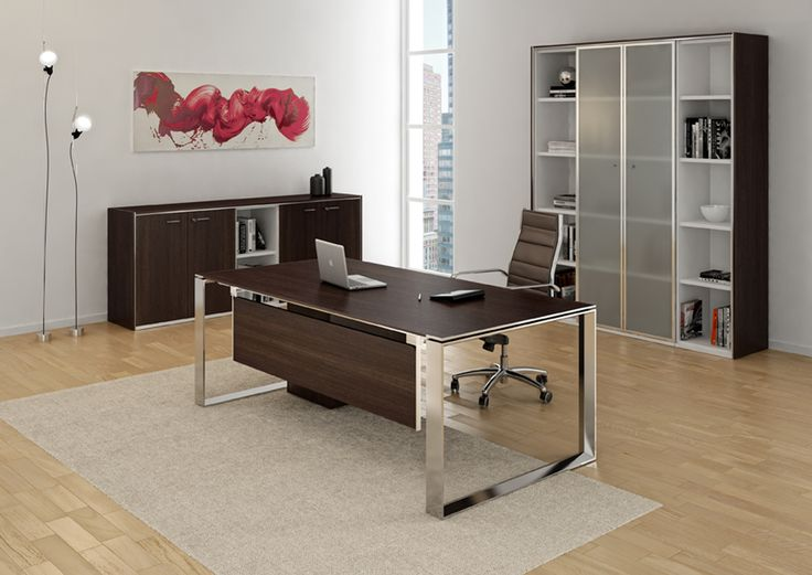 This luxury executive desk series is a statement piece suited to the executive looking for clean, architectural lines and refined detailing. The legs are available in two versions: Open and Closed. They are made of steel with a trapezoid shape section and can be powder coated in a matte white finish or in polished chrome.