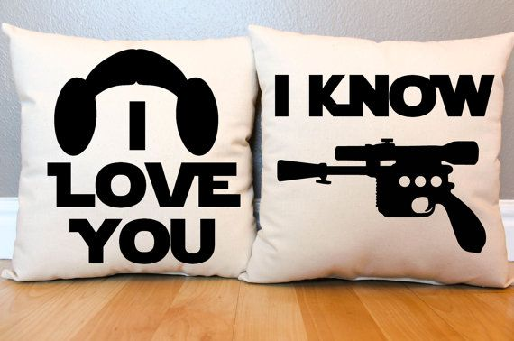 Star Wars I Love You/I Know Pillow Set by AndersAttic on Etsy, $45.00