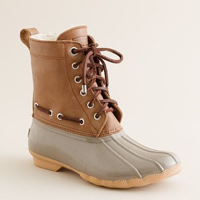 The perfect color duck boots (Sperry duck boots from J. Crew) two tone, short boot
