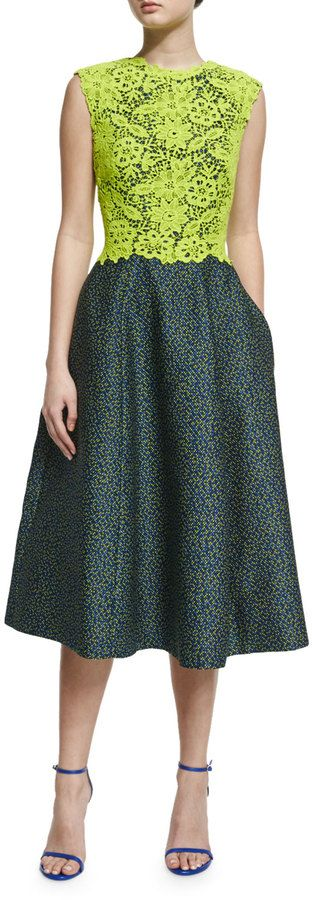 Monique Lhuillier Sleeveless Colorblock Combo Dress, Chartreuse/Midnight