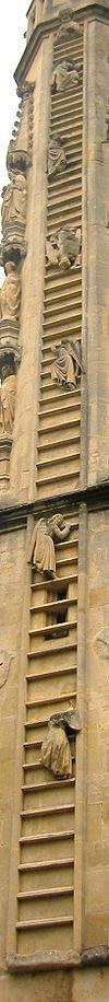 L'Échelle de Jacob se réfère au rêve du patriarche Jacob fuyant son frère, représentant une échelle montant vers le ciel. Selon le Midrash, l'échelle représente les différents exils que le peuple juif sera obligé d'endurer avant la venue du Messie. Tout d'abord, l'ange représentant les 70 années d'exil à Babylone, monte 70 échelons pour retomber, puis l'ange représentant l'exil en Perse, monte un certain nombre d'échelons et tombe aussi, tout comme l'ange représentant l'exil en Grèce.