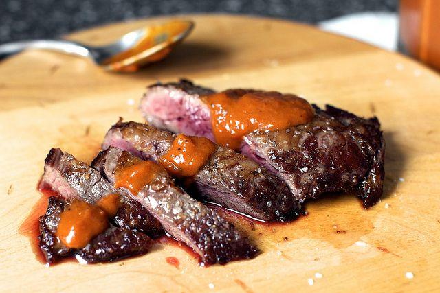 skirt steak with charred pepper sauce