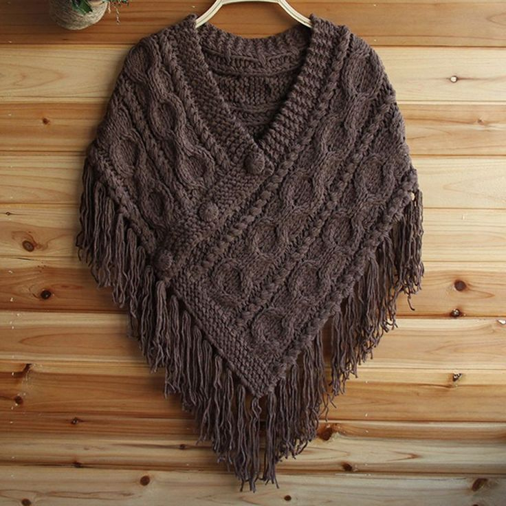 Ladies Cable Knit Cape Poncho Fringe Tassel V Neck Chunky Jumper Sweater Jack...