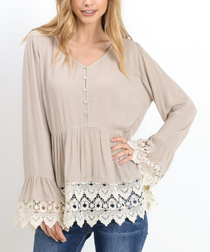 Taupe Crochet-Trim Button-Front Top