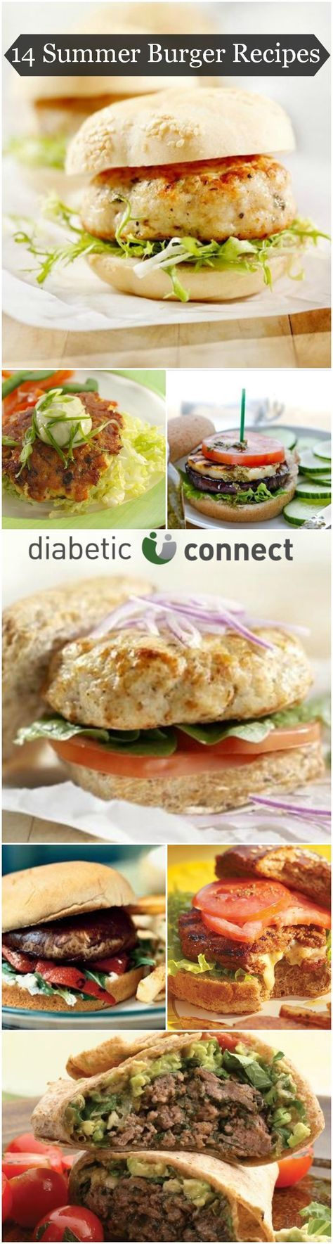 Summer is here and that means it's time to break out the grill. Here's a collection of mouth-watering burger recipes that will help you kick off your summer BBQ. you'll find diabetic-friendly chicken cordon bleu burgers, Southwestern burger wraps, and more. diabeticconnect.com #diabetesdiet #diabeticfriendly