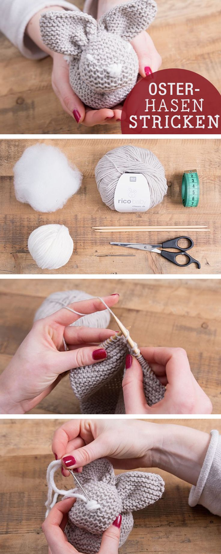 DIY-Anleitung: Osterhase stricken, Osterdeko / diy tutorial: how to knit an easter bunny via DaWanda.com