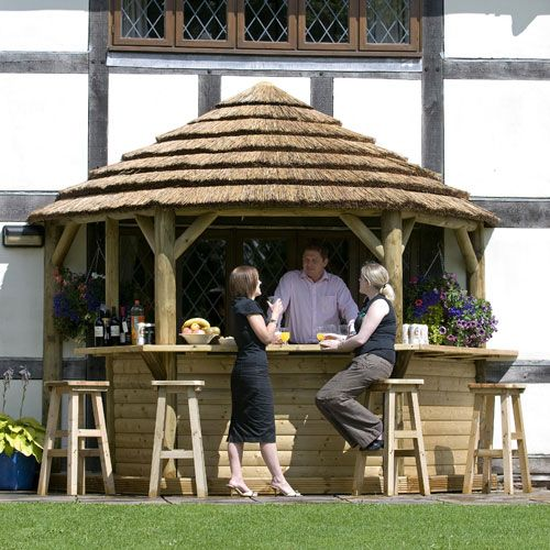 Outdoor Kitchen With Thatched Gazebo Outdoor In 2019: Classic Thatched Lean To Bar Gazebo