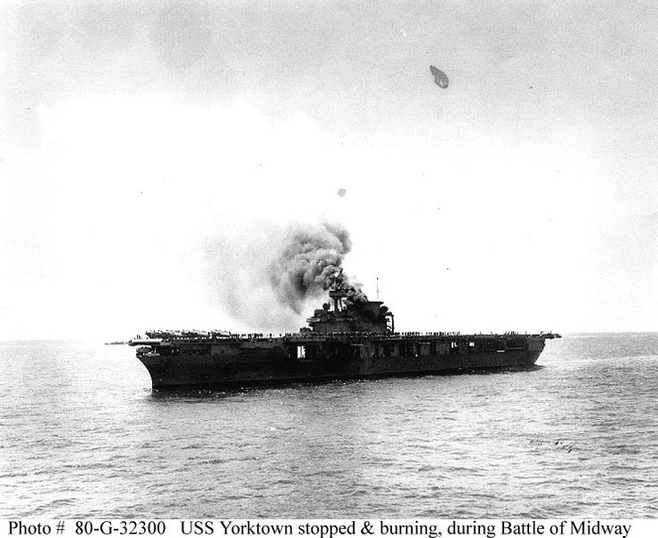 USS Yorktown (CV-5) after being hit by Japanese bombs shortly after noon on 4 June 1942.