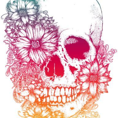 calavera con flores dibujo - Buscar con Google