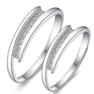 Adjustable Size 925 Sterling Silver Name Engraved Unique Commitment Rings for Couples
