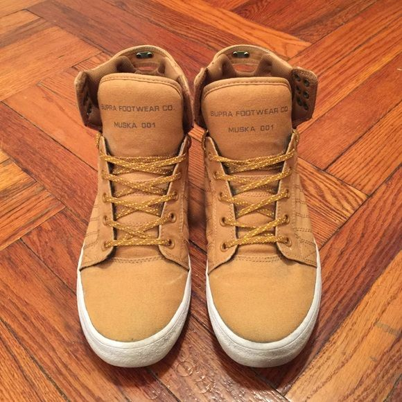 Supra high top sneakers Lightly worn. Please note they are a size 8 in mens. (Around a 9.5-10 in womens.) Supra Shoes Sneakers