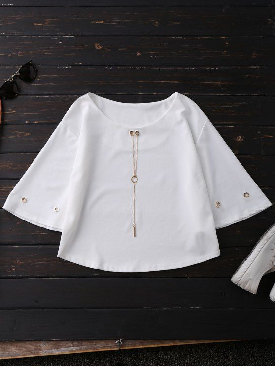 Oversized Flare Sleeve Top With Chain - WHITE ONE SIZE