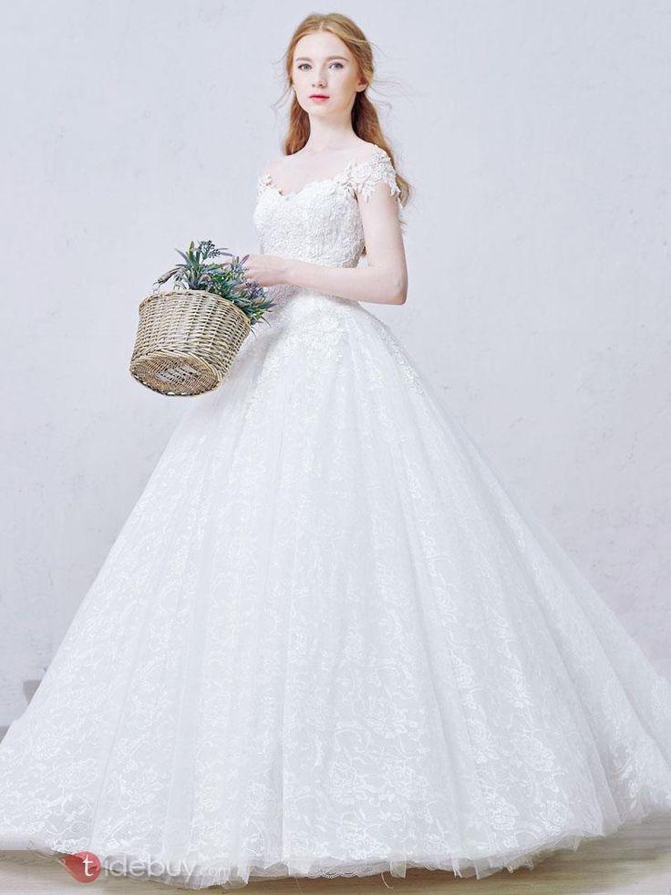 編み上げロングオフショルダーレースプリンセスウエディングドレス