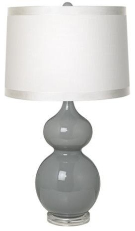 White drum shade double gourd slate grey ceramic table lamp contemporary table lamps