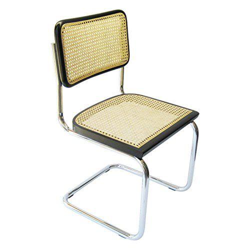 Marcel Breuer Cesca Cane Chrome Side Chair in Black
