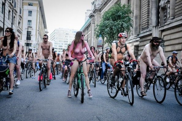 Peaceful protest against car culture. London world naked bike ride.