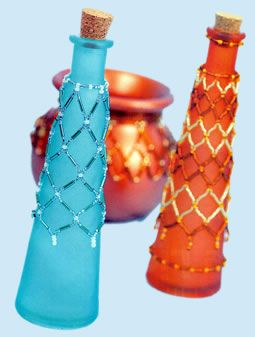 DIY Beaded Bottle and Pot Necklaces   Can use thin wire as well for a more stable form, though not with the re-threading.