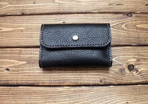 Leather Business Card Holder Wallet - Card case in Italian Vegetable Tanned Leather - Great Personalized Gift