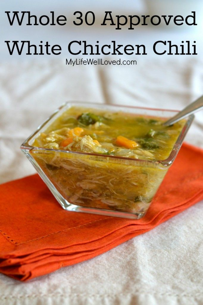 "Whole 30 White Chicken Chili (Paleo). Have made this soup 3x in two weeks, it's that good! Husband declared it, ""Restaurant-Quality"" #Paleo #CleanEating #Whole30"