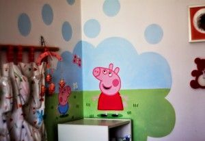Peppa, wall in child's room.