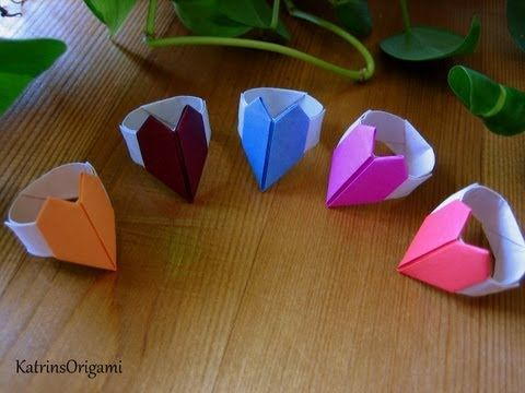 Origami ♥ Heart Ring ♥ - YouTube | Japanese craft ... - photo#25