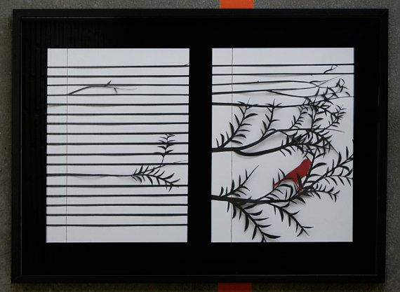 Bird on a branch  serie van Whitepaperbird op Etsy