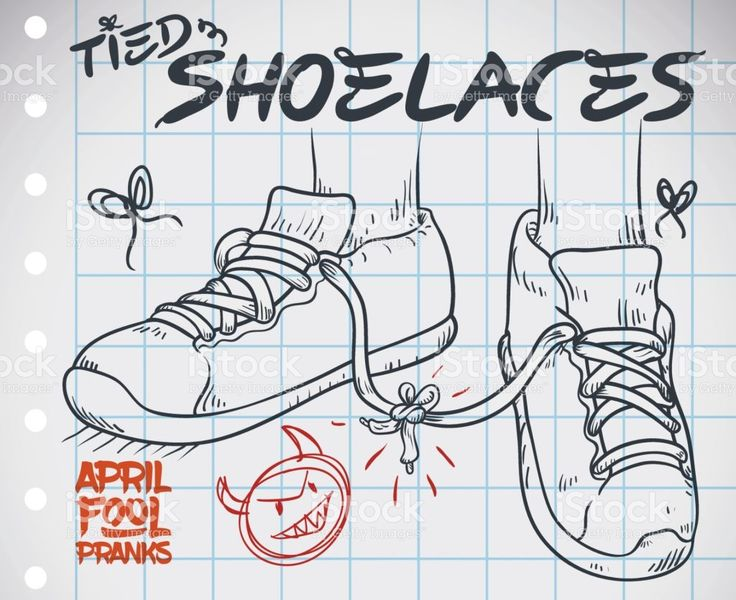 Draw with Tied Shoelaces Prank for April Fools' Day