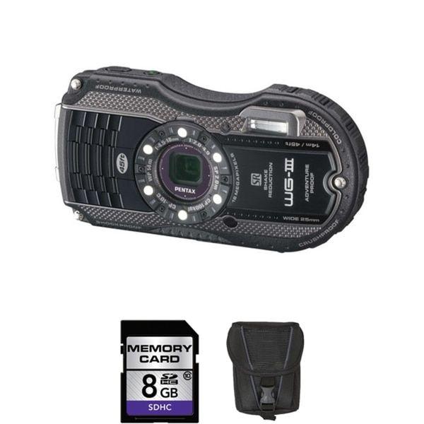 Pentax WG-3 Waterproof 16MP Black Digital Camera 8GB Bundle